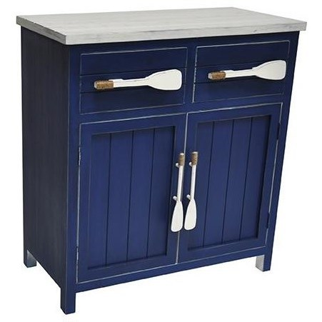 Accent Furniture Cape May Azure Blue and White Paddle Cabinet by Crestview Collection at Rife's Home Furniture