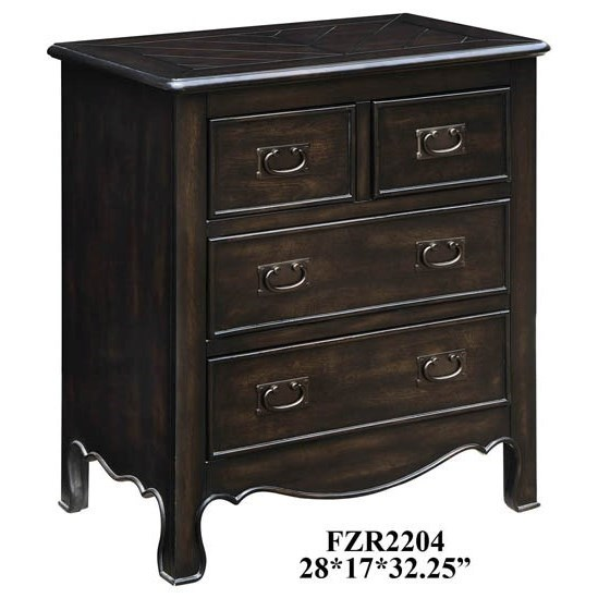 Accent Furniture Woodbridge 4 Drawer Dark Oak Chest by Crestview Collection at Rife's Home Furniture