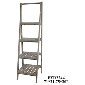 Sutton 4 Tier Grey Distressed Wood Angled Etagere