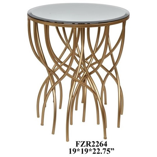Accent Furniture Melrose Gold Squiggly Leg Beveled Mirror Acc by Crestview Collection at Rife's Home Furniture