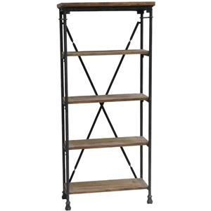 Industrial Bookcase with Metal Frame and Wooden Shelves