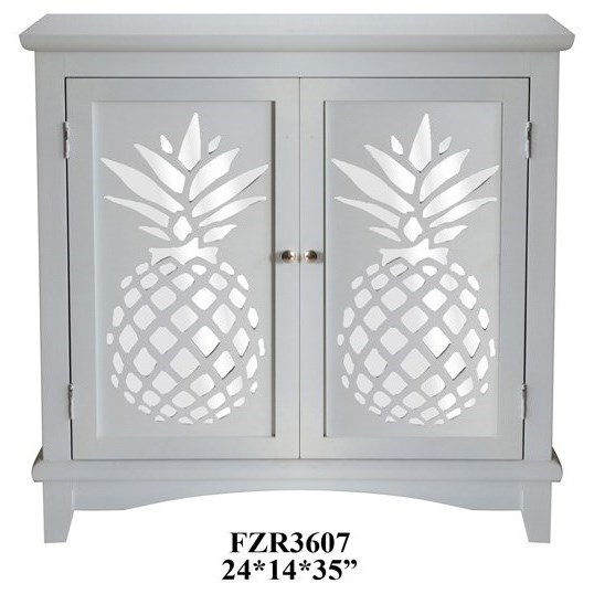 Accent Furniture 2 Door Cabinet w/ Laser Cut Pineapple by Crestview Collection at Rife's Home Furniture