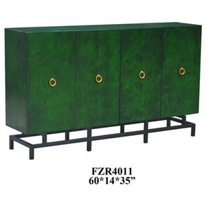Wyndham Olive Ash Burl 4 Door Sideboard w/ Metal Base