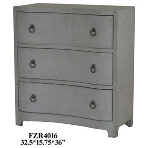 Brookstone Brushed Grey Linen Finish Chest w/ 3 Curved Drawers