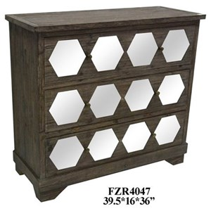 Collins 3 Drawer Rustic Wood And Hexagon Mirror Chest
