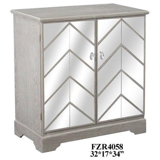 Accent Furniture Chevron Mirror and Wood Cabinet by Crestview Collection at Rife's Home Furniture
