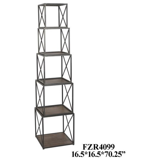 Accent Furniture Metal and Wood Stackable Etagere by Crestview Collection at Rife's Home Furniture
