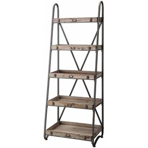Voyager Metal and Wood Tiered Bookshelf