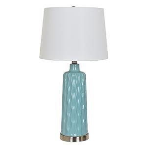 "Blue Ceramic Table Lamp 27.5""TH"