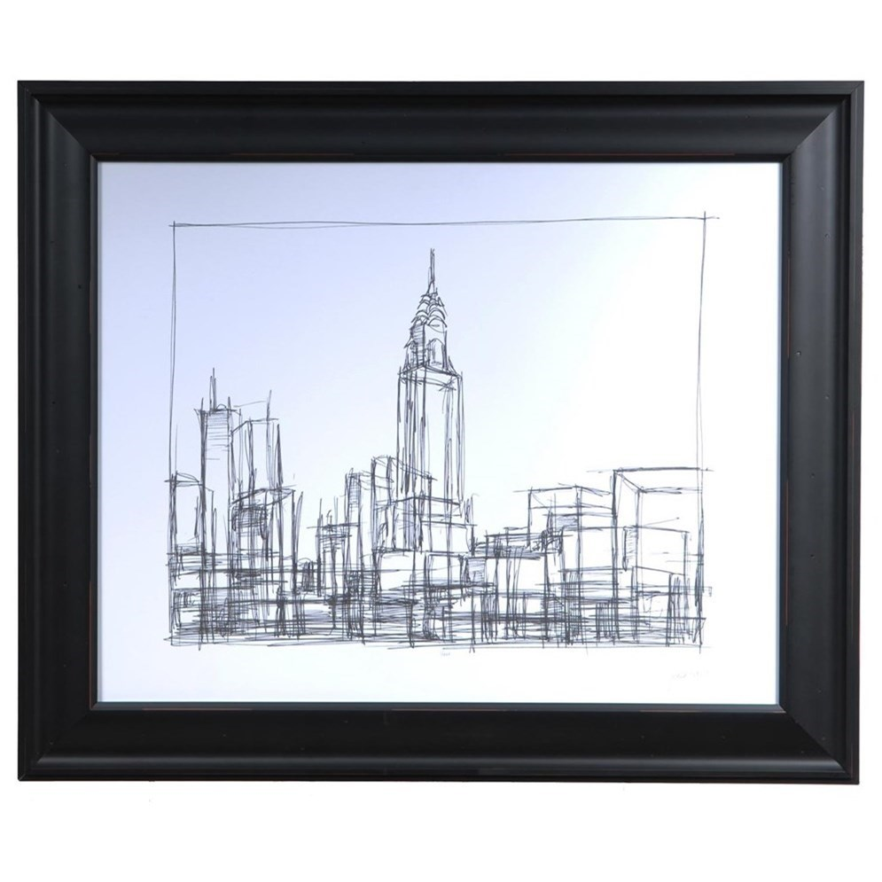 Prints and Paintings Wire Frame Cityscape 2 by Crestview Collection at Rife's Home Furniture
