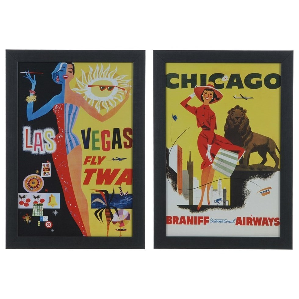 Prints and Paintings Vintage Destinations 1&3 (Set) by Crestview Collection at Rife's Home Furniture