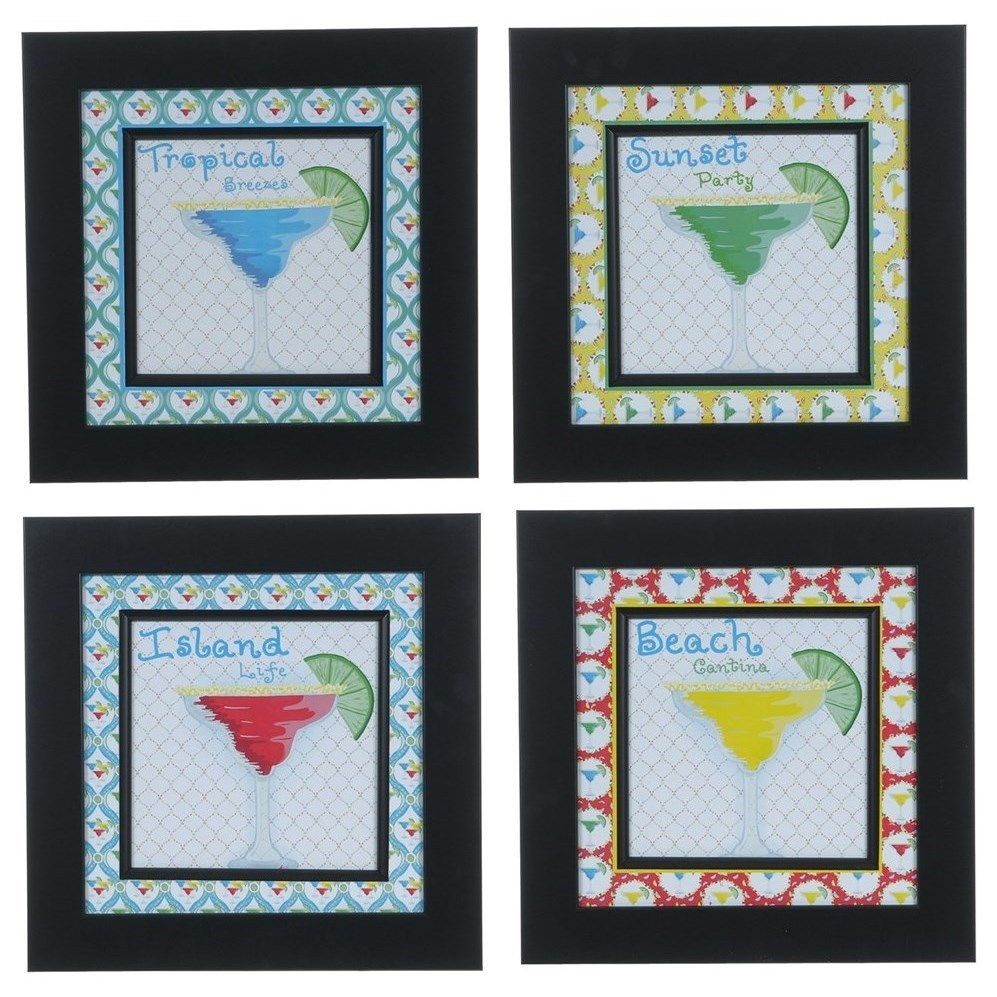 Prints and Paintings Margarita 1,2,3, &4 (Set 4) by Crestview Collection at Rife's Home Furniture