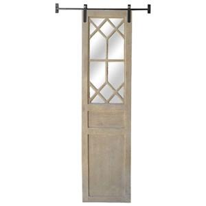 Light Rustic Decorative Barn Door Mirror on Metal Slide