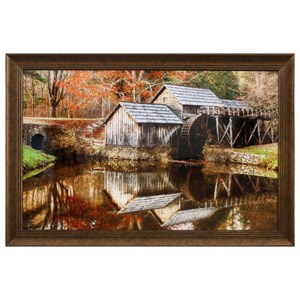Mill Time Framed Crackled Tempered Glass Wall D?r
