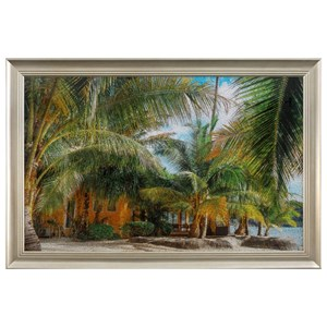 Tropical Framed Crackled Tempered Glass Wall D?r
