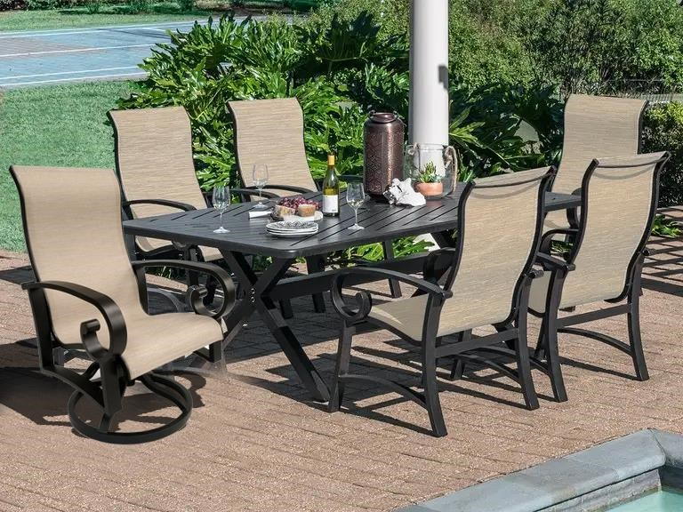 Crown Garden Rectangle Table, Chair, Swivel Chair by Crown Garden Furniture at Johnny Janosik