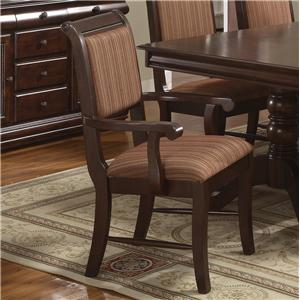 Dining Arm Chair with Striped Upholstered Seat and Seat Back