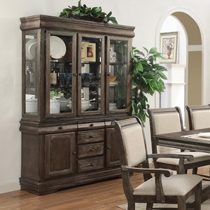 Buffet and Hutch with Three Glass Doors