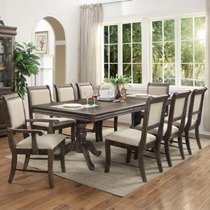 Double Pedestal Dining Table with One 18 Inch Leaf
