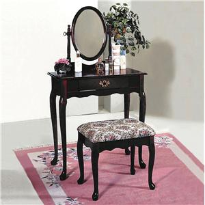 Rectangular Vanity Table & Matching Upholstered Stool