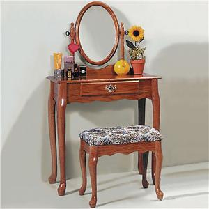Rectangular Vanity Table & Matching Upholstered Stool