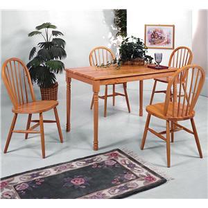 Rectangular Leg Table and Slat Back Chair Set