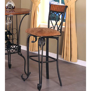 Upholstered Seat Metal Bar Stool with Scrolled Feet