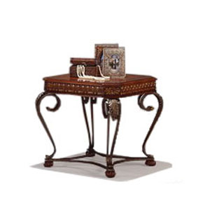 Rectangular Wood and Metal End Table with Cabriole Legs