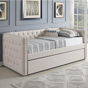 Upholstered Daybed with Button Tufting and Pull-Out Trundle Bed