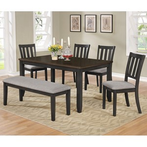 Casual Six Piece Dining Set with Bench