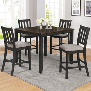 Casual Five Piece Counter Height Table and Stool Set