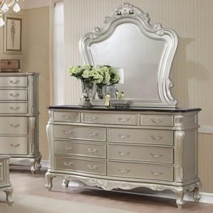 Traditional Nine Drawer Dresser Mirror Set with Metallic Finish