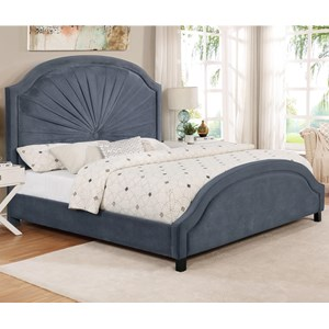 Queen Upholstered Bed with Single Button Tuft
