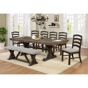 Transitional 8 Piece Dining Set with Upholstered Bench