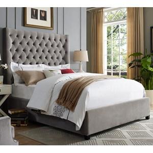 King Velvet Upholstered Bed with Tufting