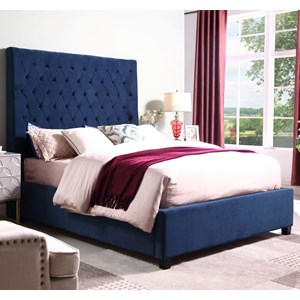 Queen Velvet Upholstered Bed with Tufting