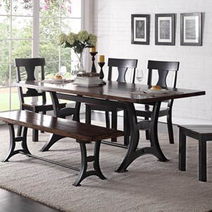 Industrial Dining Table with Trestle Base and Rustic Top