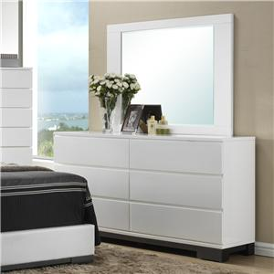 Contemporary 6 Drawer Dresser and Framed Square Mirror