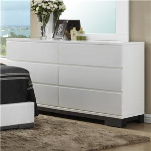 Contemporary 6 Drawer Dresser Base