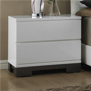 Contemporary Two-Tone Nightstand with 2 Drawers