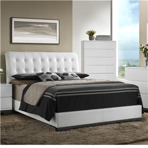 Contemporary Upholstered Queen Bed with Tufted Heaboard