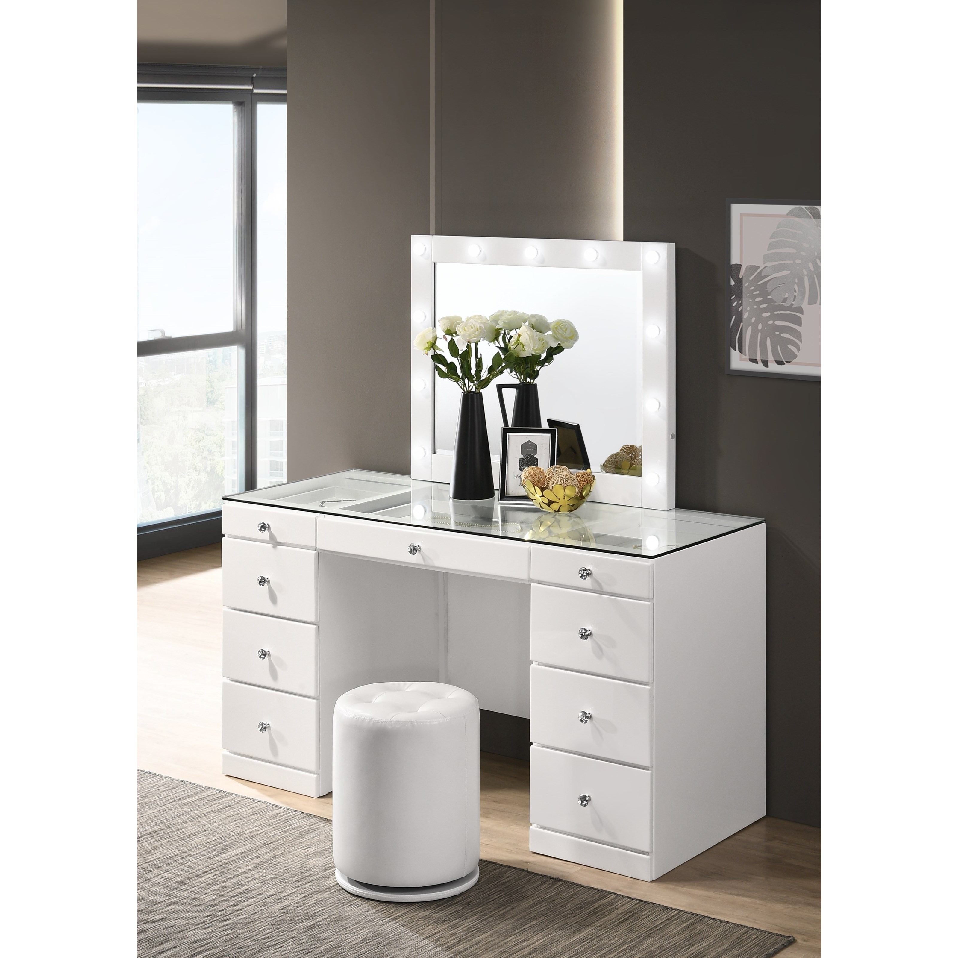 Avery  Vanity and Mirror by Crown Mark at Catalog Outlet
