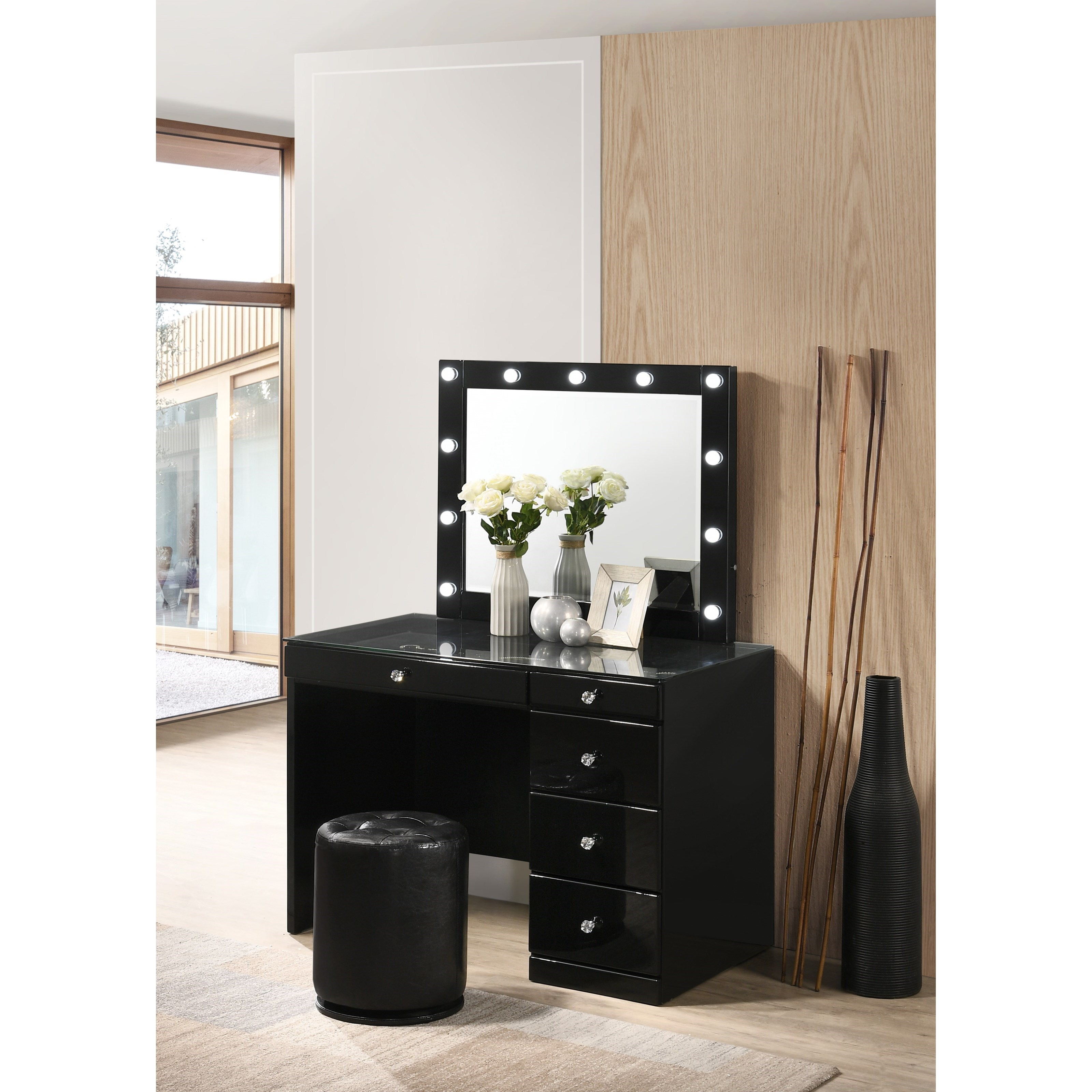 Morgan Vanity and Mirror with Stool by Crown Mark at Northeast Factory Direct