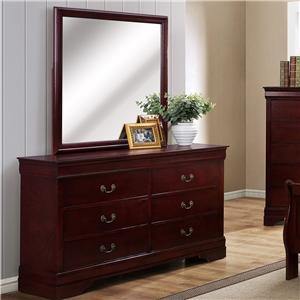 6 Drawer Dresser with Square Mirror