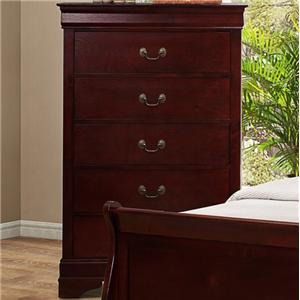 5 Drawer Chest with Metal Bail  Handles and Bracket Feet