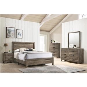 Queen Bed, Dresser, Mirror and Nightstand Package