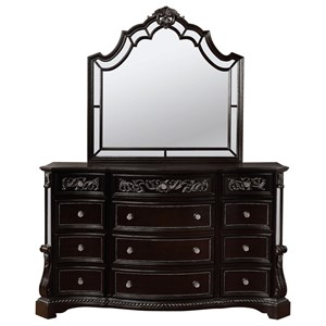 Traditional Nine Drawer Dresser Mirror Set with Mirror Accenting