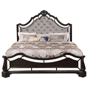 Traditional Queen Upholstered Bed With Mirror Accenting