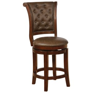 Traditional Counter Height Stool with Nailhead Trim