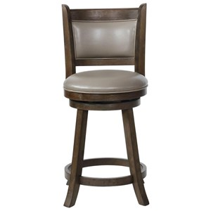 Swivel Counter Height Bar Stool with Upholstered Seat and Back